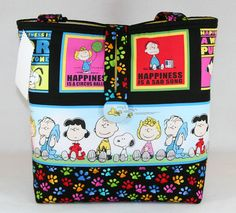 HAPPINESS IS PEANUTS SNOOPY HANDMADE TOTE BAG, HANDBAG PURSE | eBay