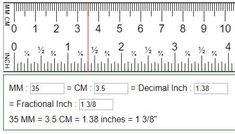 Convert mm, cm to fraction or decimal inches (in=mm=cm) - Mm to inches chart - Metric Conversion Chart, Measurement Conversions, Math Measurement, Reading A Ruler, Tape Reading, Ruler Cm, Inch Ruler, Cm To Inches Conversion, Scrappy Quilts