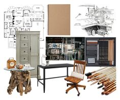 """Dream Workspace"" by thinkinsidethebox ❤ liked on Polyvore featuring interior, interiors, interior design, home, home decor, interior decorating, Crate and Barrel, Ren-Wil, Ankit and Muji"
