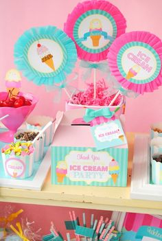 Ice Cream Party - ICE CREAM Printables - Ice Cream - Sweet Shop - Ice Cream Shoppe - ICE CREAM Birthday - First Birthday - ICECREAM - Ice Cream Thank You Tags