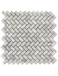 Mini Herringbone Bianco Carrara White Polished Marble Mosaic Tile #herringbone_mosaic_tile #bianco_carrara_marble Calacatta Gold, Honed Marble, Marble Mosaic, Glass Mosaic Tiles, Grey Wood, White Wood, Mosaic Tiles For Sale, Hall Flooring, White Polish
