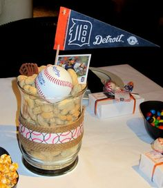 Baseball theme baby shower sports by new exclusive sell themed centerpieces excellent for food ideas Baby Shower Themes, Baby Boy Shower, Baby Shower Decorations, Shower Centerpieces, Shower Ideas, Baseball Birthday, Baseball Party, Baseball Stuff, Football Stuff