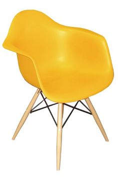 awesome Midcentury Modern Pangea Home Daffy Arm Chair, Yellow