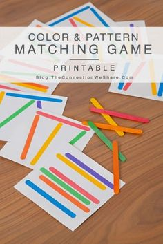 This simple color & pattern matching game for kids uses popsicle sticks. With this matching game kids can match the same color stick… Preschool Colors, Preschool Learning, Early Learning, Kids Learning, Teaching, Color Activities, Toddler Activities, Preschool Activities, Motor Skills Activities