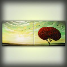 Cloud painting tree large landscape abstract