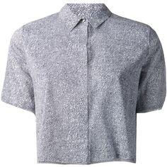 T By Alexander Wang Cropped Chiffon Shirt (780 BRL) ❤ liked on Polyvore featuring tops, shirts, crop tops, blouses, chiffon top, short sleeve chiffon shirt, collar top, ivory crop top and short sleeve tops