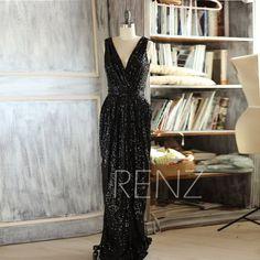 2016 Long Black Bridesmaid dress Sleeveless Luxury by RenzRags