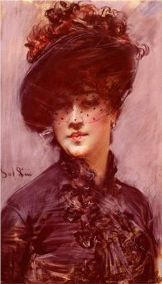 """Lady with a Black Hat"", c. 1880, by Giovanni Boldini (Italian, 1842-1931)."