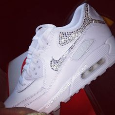 Crystal Nike Air Max 90's in White (backs & ticks)