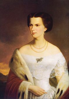 """Portrait by unknown artist of the Austrian Empress of Elisabeth """"Sissi"""" (Elisabeth Amalie Eugenie) Dec Sep Bavaria in a sable coat over her white dress that shows the lace detail of her bertha. Sissi was the wife of Emperor Franz Joseph I Aug Nov Austria. Empress Sissi, The Empress, Austria, Elisabeth 1, Spanish Netherlands, 1800s Clothing, Holy Roman Empire, Midsummer Nights Dream, Her World"""