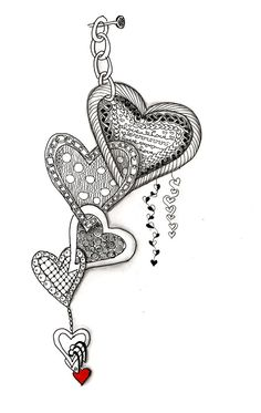 Efie goes Zentangle: art-tangle-club valentine I like the linked dangles. Zentangle Drawings, Doodles Zentangles, Doodle Drawings, Tangle Doodle, Zen Doodle, Doodle Art, Doodle Patterns, Zentangle Patterns, Zentangle Art Ideas