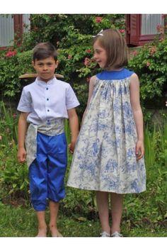 Tenue d'enfants d'honneur en toile de jouy bleu roi