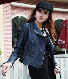 Women Classic short Motorcycle PU leather jacket red black blue Womens faux leather jackets