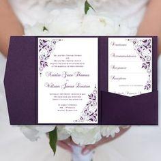Diy Pocketfold Wedding Invitations Gianna Eggplant Purple Silver Printable Word Templates Instant Order Any 1 2 Colors U Print