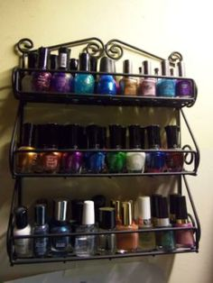 """Black Metal Scroll Wall Mount Spice or Nailpolish Rack.  14-1/2""""  tall x 12-1/2 """" wide x 2-3/4"""" deep. Perfect for nail polish, perfume, fits two row acrylic lipstick holders. Get at walmart or target. Brand name: Spectrum  $15.82"""