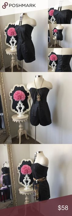 🌺 No Label  Hot Strapless Gun Metal  Short Romper 🌺 No Label  Gorgeous Strapless Gun Metal  Short Romper  - Beautiful Shimmer Print - Short Cuff Design - Strapless Style - Back  Zipper - Romper is Lined  $88 - New  Size: Medium  Fabric :  🌺 Accessories Not Included But Are also for Sale  Please Check out my Other Items in my GIRLe B Posh Shoppe'  Like us on FB   www.facebook.com/girleboutique Thanks For Looking & Always Let your Clothes get All the Attention 💋 ❌⭕️, Christina GIRLe…