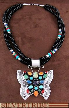 Native American Onyx Multicolor Butterfly Pendant And Bead Necklace Jewelry Set NS55456