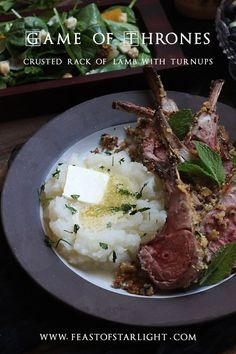 Herb crusted rack of lamb and mashed turnips from the book series, Game of Thrones, A Song of Ice and Fire.