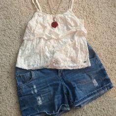 Selling this White Lace Tank in my Poshmark closet! My username is: emmolik. #shopmycloset #poshmark #fashion #shopping #style #forsale #Aeropostale #Tops