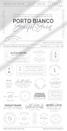 Porto Bianco Font Duo + 22 Logos by Pink Coffie on @creativemarket