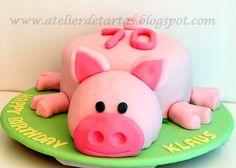 Tarta Fondant 3D Cumpleaños Cerdito