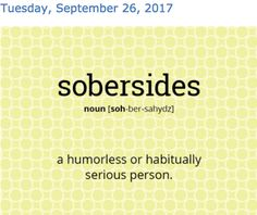 #wordoftheday - sobersides.   Slang. a humorless or habitually serious person. #english #vocabulary