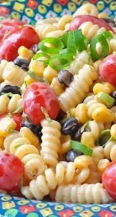 Southwestern Chipotle Lime Pasta Salad--3 cups cooked fusilli pasta--1/2 cup corn --3/4 cup black beans, cooked (rinse if using canned)-- 1 cup grape cherry tomatoes, cut in half---2 chopped green onions--DRESSING....1/2 cup mayo --1/2 tsp smoked paprika--1/2 tsp chipotle powder -- pinch salt and pepper-- zest and juice of one lime--1 tbsp honey
