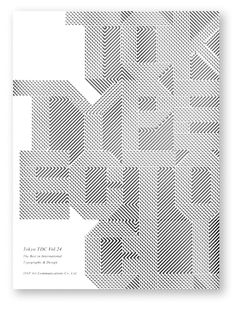 """cover from """"Tokyo TDC Vol. 24"""" in black and white stripe letters – nice typography 