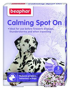 buy now   £3.59  Beaphar Calming Spot On for dogs naturally and effectively calms and reduces problem behaviour in dogs of all breeds and ages. Contains Valerian extract a herbal supplement  ...Read More