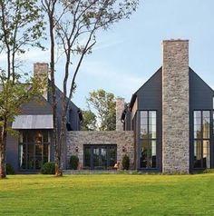 Dark exterior with stone