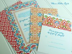 Spanish Tiles Wedding Invitations by WhoaNelliePress on Etsy https://www.etsy.com/listing/166433058/spanish-tiles-wedding-invitations
