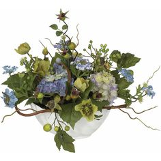 Hydrangea Centerpiece ($114) ❤ liked on Polyvore featuring home, home decor, floral decor, hydrangea flower arrangement, hydrangea centerpieces, flower arrangement, leaf bowl and flower centerpieces