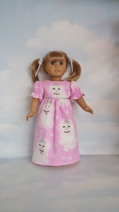 18 inch doll clothes - Kitty Nightgown handmade to fit the American Girl Doll…