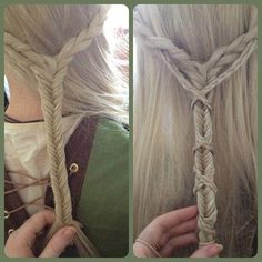 English accent braids crisscrossed over a fishtail braid.
