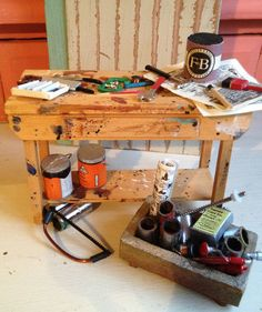Dollshouse Miniature Carpenters Workbench by Artistique on Etsy, £50.00
