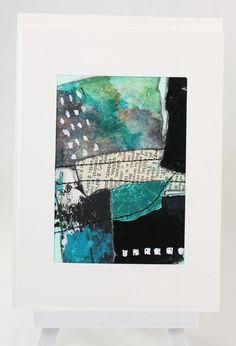 Original Tea Bag Art Teal Collage ACEO Greeting Card OOAK