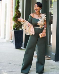 Seen These Sweet Nigerian Jumpsuits Lately? – A Million Styles Seen These Sexy Nigerian Jumpsuits Lately? Classy Outfits, Chic Outfits, Fashion Outfits, Fashion Fashion, Nigerian Dress Styles, Jumpsuit For Wedding Guest, Beautiful Casual Dresses, Office Outfits Women, Latest African Fashion Dresses