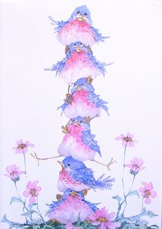 Carolyn Shores Wright ~ Stacked Blue Birds and Pink Flowers