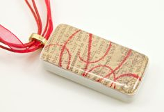 Caramel Shimmer Nostalgia Domino Pendant with Red Sheer Ribbon and Corded Necklace