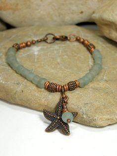 Sea Glass Bracelet - Starfish Bracelet - Beaded Bracelet - Tropical Bracelet - Frosted Glass - Blue Glass Bracelet - Copper Metal