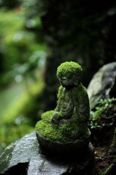Mossy Jizo statue at Renge-ji temple, Kyoto, Japan