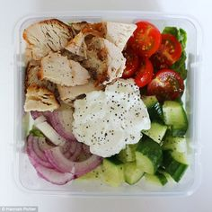 Hannah makes her own tzatziki for her Greek chicken salad, which she has for lunch three d...