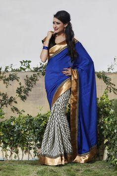 Dark blue shaded bhagalpuri silk saree