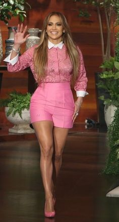 Jennifer Lopez in Valentino paired with Casadei pumps makes an appearance on 'The Ellen DeGeneres Show'. #bestdressed