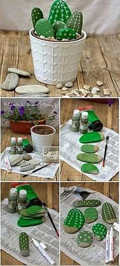 EL MUNDO DEL RECICLAJE: Recicla piedras y hazte un falso cactus