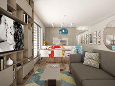 Open-plan living room with kitchen Open Plan Living, Corner Desk, Interiors, How To Plan, Interior Design, Living Room, Kitchen, Furniture, Home Decor