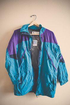 80s 90's Columbia Windbreaker Jacket Coat Teal Turquoise Purple Women's Medium Hipster Preppy With Hood | $41.99 | 7 Cities Vintage