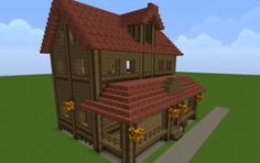 Farm House - Nice red roof, full front porch with a mailbox, and dormer window add great details.