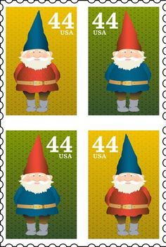Gnome on stamps Minis, Elves And Fairies, Gnome House, Gnome Garden, Stamp Collecting, Mail Art, Faeries, Postage Stamps, Scandinavian