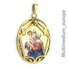 Art Deco Emaille Anhänger 585 Gold Maria mit Jesus Kind Madonna 20er Jahre